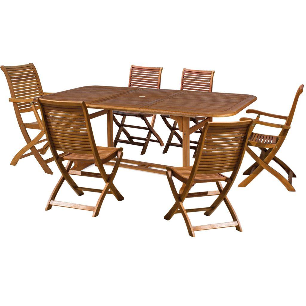set pranzo giardino 6 posti legno balau