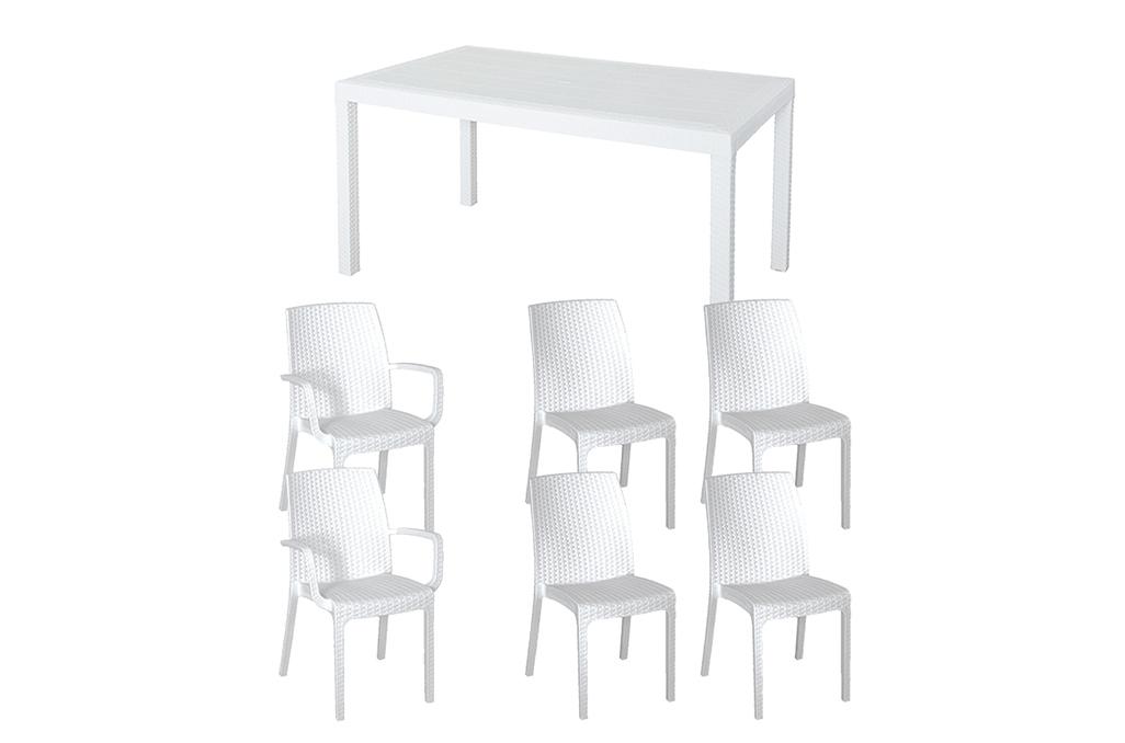 tavolo e sedie cortile resina