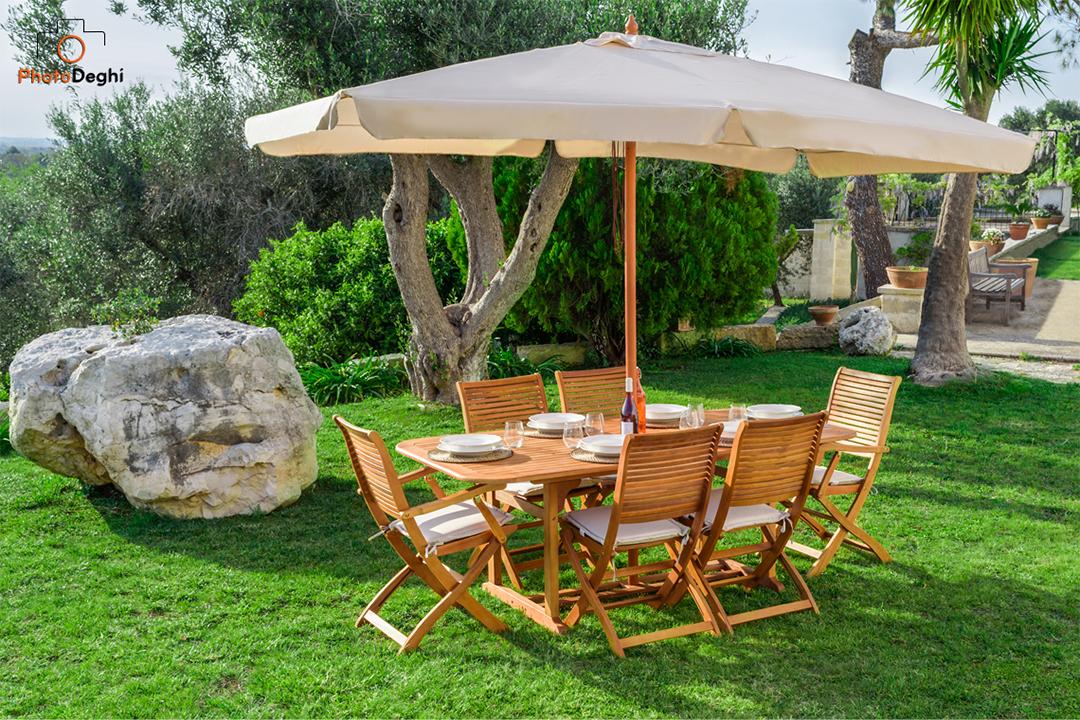 set legno 6 posti giardino