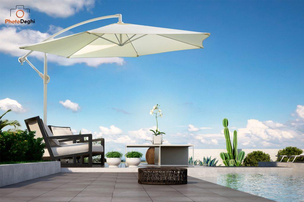progettare giardino ombrellone